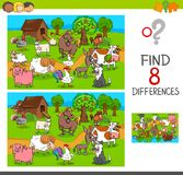 Find differences with farm animal characters. Cartoon Illustration of Finding Differences Between Pictures Educational Activity Game for Children with Comic Farm Stock Photography
