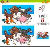 Find differences with farm animal characters. Cartoon Illustration of Finding Eight Differences Between Pictures Educational Activity Game for Kids with Farm Royalty Free Stock Image