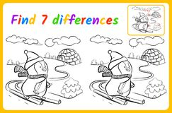 Find the differences. Find differences for kids. Education game for children. spot the difference. Skier vector illustration Stock Image