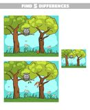 Find Differences Forest Owl Squirrel. Find 5 differences. Page of book with game for children. Forest animals. Vector illustration Stock Photos