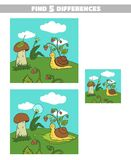 Find Differences Forest Snail. Find 5 differences. Page of book with game for children. Forest animals. Vector illustration Royalty Free Stock Image