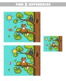 Find Differences Fox And Crow. Find 5 differences. Page of book with game for children. Forest animals. Vector illustration Stock Images