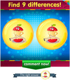 Find 9 differences the funny apple Royalty Free Stock Photo