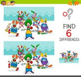 Find differences with funny clown characters. Cartoon Illustration of Finding Eight Differences Between Pictures Educational Activity Game for Kids with Clown Stock Photo