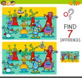 Find differences game with aliens characters. Cartoon Illustration of Finding Seven Differences Between Pictures Educational Activity Game for Children with royalty free illustration
