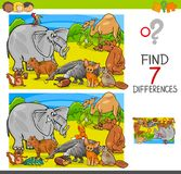 Find differences game with animal characters group. Cartoon Illustration of Finding Seven Differences Between Pictures Educational Activity Game for Children Royalty Free Stock Photos