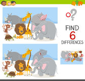 Find differences game with animals. Cartoon Illustration of Spot the Differences Educational Game for Children with Safari Animal Characters Royalty Free Stock Photos