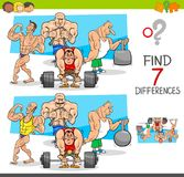 Find differences game with athletes sportsmen. Cartoon Illustration of Finding Seven Differences Between Pictures Educational Activity Game for Kids with Stock Photos