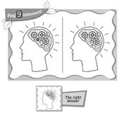 Find 9 differences game black brain. Visual game for children, coloring book. Task to find 9 differences in the illustration on the school board. black and white Stock Images