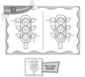 Find 9 differences game black traffic light. Visual game for children, coloring book. Task to find 9 differences in the illustration on the school board. black Stock Image