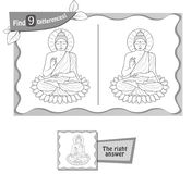 Find 9 differences game Buddha. Visual game for children, coloring book. Task to find 9 differences in the illustration on the school board. black and white Royalty Free Stock Image