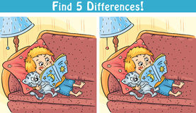Find differences game with a cartoon boy reading a book. Colorful Royalty Free Stock Photo