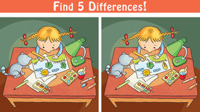 Find differences game with a cartoon girl drawing a picture. Colorful Royalty Free Stock Photography