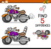 Find the differences game. Cartoon Illustration of Finding Differences Educational Task for Preschool Children with Bike Transport Character Royalty Free Stock Photo