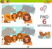Find the differences game. Cartoon Illustration of Spot the Differences Educational Game for Children with Lions and Rhinos Animal Characters Royalty Free Stock Photography