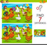 Find differences game with chickens animal characters. Cartoon Illustration of Finding Seven Differences Between Pictures Educational Activity Game for Children Stock Photography
