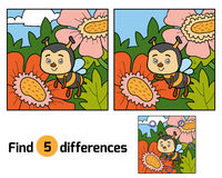 Find differences, game for children (bee and background) Stock Photography
