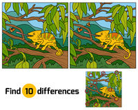 Find differences, game for children (chameleon) Royalty Free Stock Images