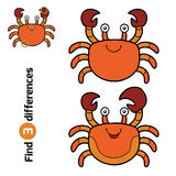 Find differences, game for children (crab). Find differences, education game for children (crab Stock Photos