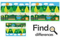 Find 10 differences, game for children, garden cartoon, education game for kids, preschool worksheet activity, task for the. Development of logical thinking stock illustration