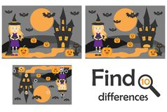 Find 10 differences, game for children, halloween picture in cartoon style, education game for kids, preschool worksheet activity, royalty free illustration