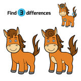 Find differences, game for children (horse) Stock Image