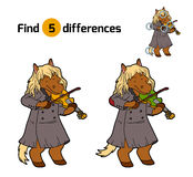 Find differences, game for children (horse and violin) Royalty Free Stock Photos