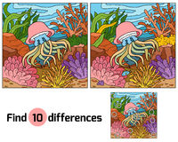 Find differences, game for children (jellyfish and background) Stock Photo