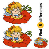 Find differences, game for children: little fairy. Girl Royalty Free Stock Image