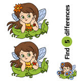 Find differences, game for children: little fairy. Girl Royalty Free Stock Photo