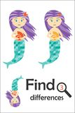 Find 3 differences, game for children, mermaid in cartoon style, education game for kids, preschool worksheet activity, task for stock illustration