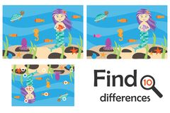 Find 10 differences, game for children, mermaid underwater in cartoon style, education game for kids, preschool worksheet activity royalty free illustration