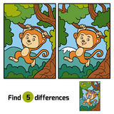 Find differences, game for children (monkey and background). Find differences, education game for children (monkey and background Stock Image