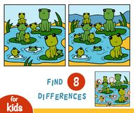 Find differences, game for children, Nine frogs. Find differences, education game for children, Nine frogs royalty free illustration