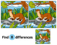 Find differences, game for children (otter and background) Stock Photo