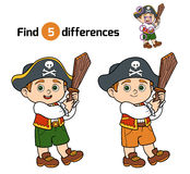 Find differences, game for children (pirate boy) Stock Photos