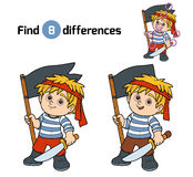 Find differences, game for children (pirate boy) Royalty Free Stock Photography