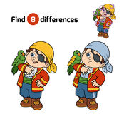 Find differences, game for children (pirate boy). Find differences, education game for children (pirate boy and parrot Stock Photo