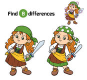 Find differences, game for children (pirate girl) Stock Image