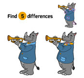 Find differences, game for children (rhino and trumpet) Royalty Free Stock Photo