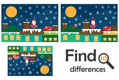 Find 10 differences, game for children, Santa on the roof. christmas cartoon, education game for kids, preschool worksheet stock illustration