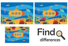 Find 10 differences, game for children, sea world underwater in cartoon style, education game for kids, preschool worksheet vector illustration