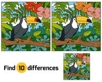Find differences, game for children (toucan and background) Royalty Free Stock Photography
