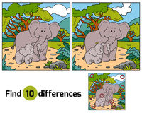 Find differences, game for children (two elephants) Royalty Free Stock Photo
