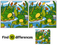 Find differences, game for children (two frogs and background) Royalty Free Stock Photo