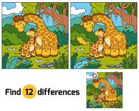 Find differences, game for children (two giraffes) Stock Photography