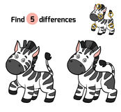 Find differences, game for children (zebra) Royalty Free Stock Photography