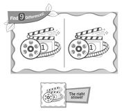 Find 9 differences game cinema. Visual game for children, coloring book. Task to find 9 differences in the illustration on the school board. black and white Royalty Free Stock Images
