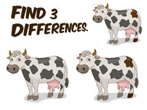 Find differences game cow vector illustration. Find differences game cow cartoon colorful vector illustration Stock Photography
