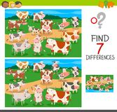 Find differences game with cows animal characters. Cartoon Illustration of Finding Seven Differences Between Pictures Educational Activity Game for Children with Royalty Free Stock Photo